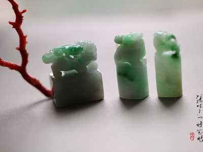 藏银印章 三枚糯种飘阳绿小印章系列